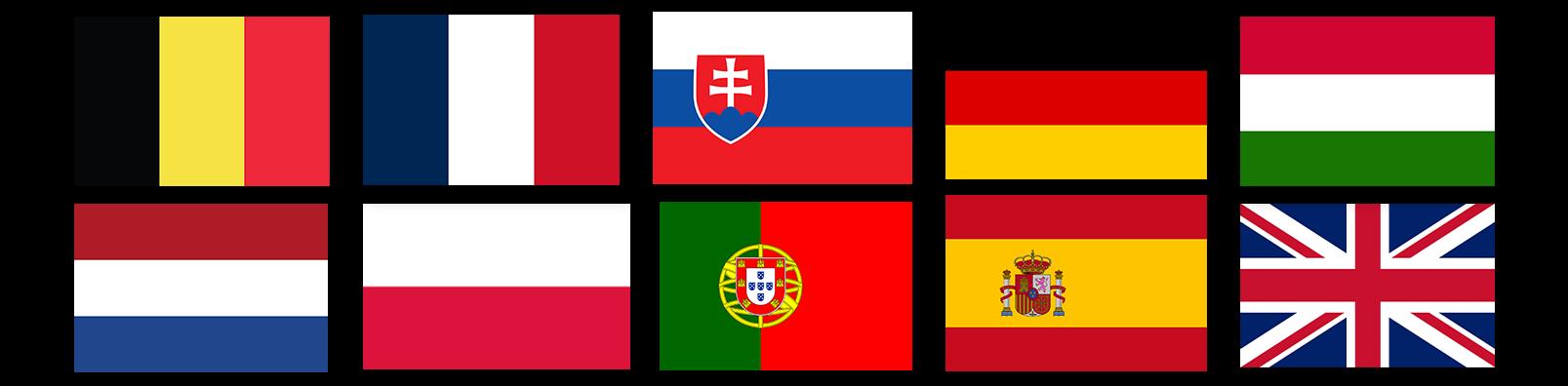 Flags Germany belgium poland slovakia netherlands uk hungary spain